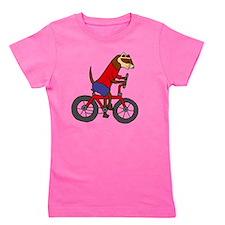 Ferret on Bicycle Girl's Tee