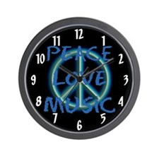 Peace Love Music Wall Clock