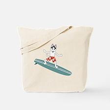 Siberian Husky Longboard Surfer Tote Bag