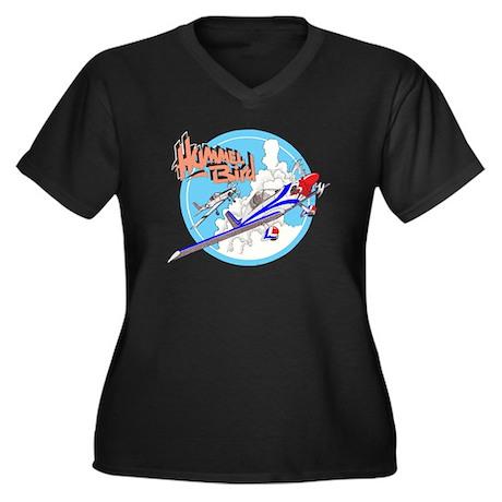 HUMMELBIRD Women's Plus Size V-Neck Dark T-Shirt