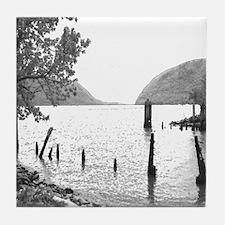 Hudson River Plum Point B&W Photograph on Tile
