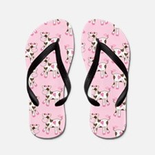 Pink and Brown Cows Flip Flops