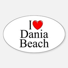 """I Love Dania Beach"" Oval Decal"