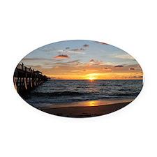 Cute Sunrise Oval Car Magnet