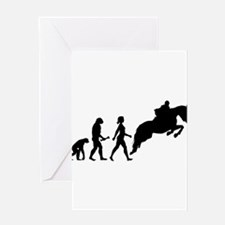 Female Horseback Rider Evolution Greeting Cards