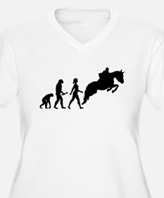 Female Horseback Rider Evolution Plus Size T-Shirt