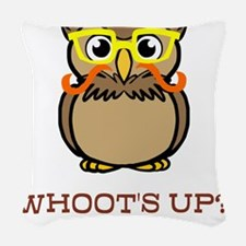 Mustache Owl with Glasses Woven Throw Pillow