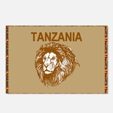 Tanzania With Lion Postcards (package Of 8)