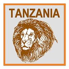 "Tanzania With Lion Square Car Magnet 3"" X 3&q"