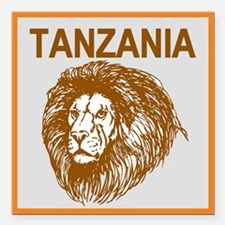 "Tanzania With Lion Square Car Magnet 3"" X 3&q"