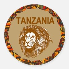 Tanzania With Lion Round Car Magnet