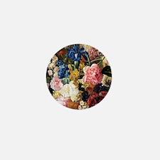 elegant vintage flowers nature floral  Mini Button