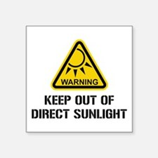 WARNING - Keep Out of Direct Sunlight Sticker