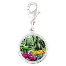beautiful garden 2 Silver Round Charm