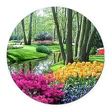beautiful garden 2 Round Car Magnet