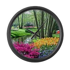 beautiful garden 2 Large Wall Clock