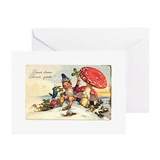 vintage gnome/mushroom Greeting Cards (Pk of 10)