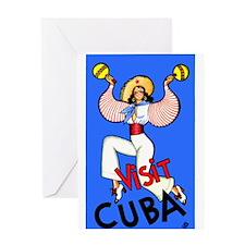 Antique 1930 Cuban Dancer Travel Poster Greeting C