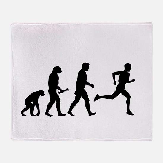 Male Runner Evolution Throw Blanket