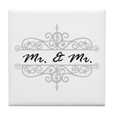 Mr. And Gay Wedding Scrolling Border Tile Coaster