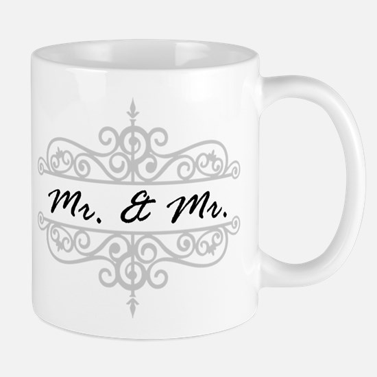 MR. AND MR. GAY WEDDING SCROLLING BORDER Mugs