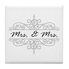 Mrs. And Mrs. Lesbian Wedding Gift Tile Coaster