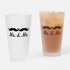 MR. AND MR. GAY WEDDING MUSTACHE Drinking Glass