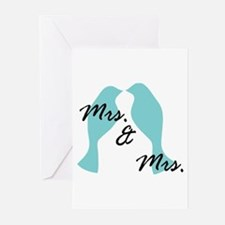 Mrs. And Blue Love Bird Lesbian Greeting Cards