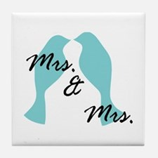 Mrs. And Blue Love Bird Lesbian Tile Coaster