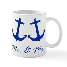 MR. AND MR. BLUE ANCHOR GAY WEDDING CARD Mugs