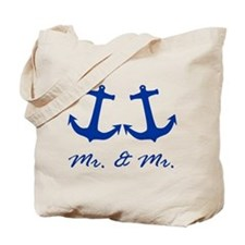 MR. AND MR. BLUE ANCHOR GAY WEDDING CARD Tote Bag