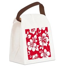 Red Hawaiian Hibiscus Canvas Lunch Bag