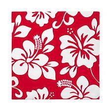 Red Hawaiian Hibiscus Queen Duvet