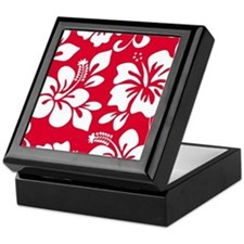 Red Hawaiian Hibiscus Keepsake Box