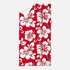 Red Hawaiian Hibiscus Beach Towel