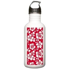 Red Hawaiian Hibiscus Water Bottle