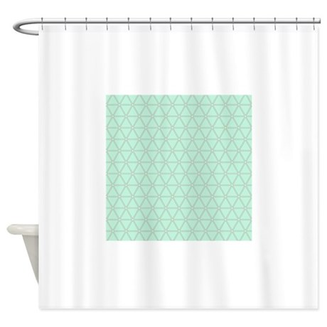 seafoam green gray triangle pattern shower curtain by