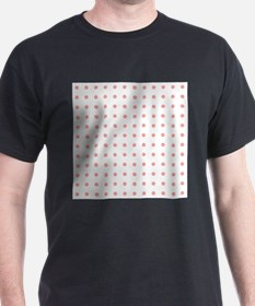 Coral Pink White Small Floral Polka Dots T-Shirt