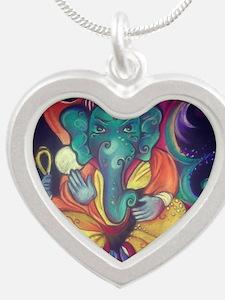 Ganesha Silver Heart Necklace
