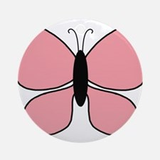 Pink and Black Butterfly Ornament (Round)