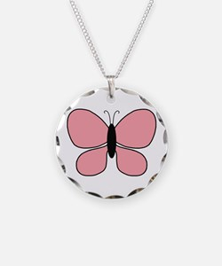 Pink Black Butterfly Small Necklace