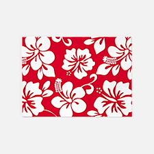 Red Hawaiian Hibiscus 5'x7'Area Rug