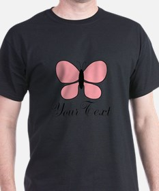 Pink Black Personalizable Butterfly T-Shirt