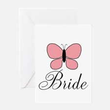 Pink Black Bride Butterfly Greeting Cards