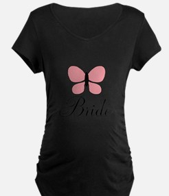 Pink Black Bride Butterfly Maternity T-Shirt
