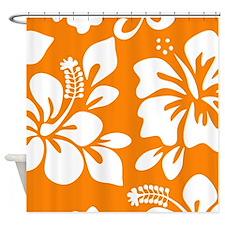 Orange Hawaiian Hibiscus Shower Curtain