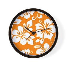 Orange Hawaiian Hibiscus Wall Clock