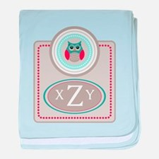 Owl Monogram baby blanket