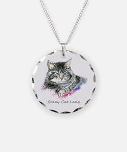 Crazy Cat Lady Fun Quote Necklace