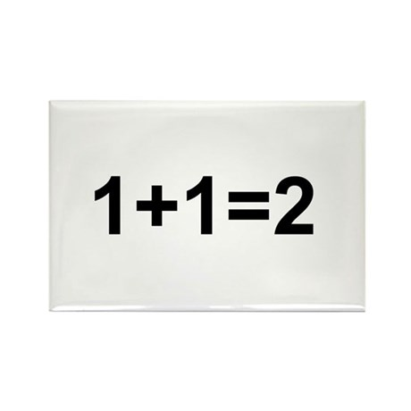 1+1=2 Rectangle Magnet